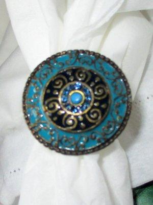 Damenring Ring Statementring Damen Orient Ornamente großer Teller gold petrol türkis schwarz verstellbar S M L