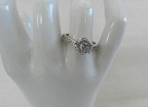 Damenring Sterling Silver Plated -  Zircon Crystal  - Gr.8 (17,8)