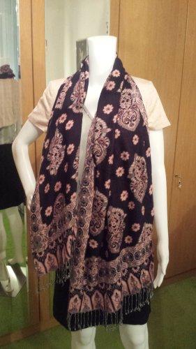 Écharpe à franges vieux rose-bleu foncé