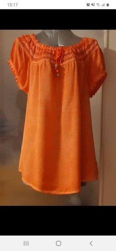 Made in Italy Bluzka typu carmen pomarańczowy