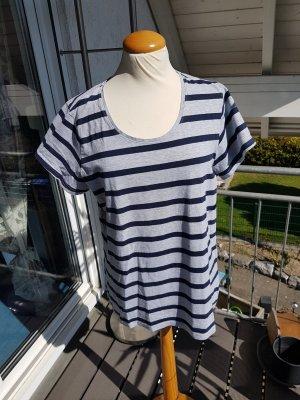 Janina T-shirt rayé gris clair-bleu foncé