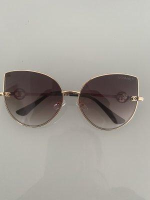 Chanel Lunettes de soleil angulaires doré