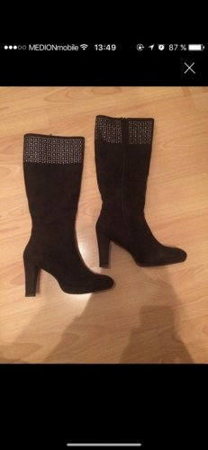 High Heel Boots black-silver-colored