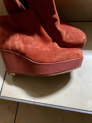 Liebeskind Platform Boots dark orange leather