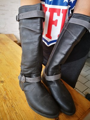 pepperts Winter Boots black-light grey leather