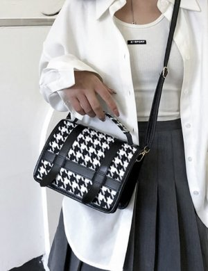 100% Fashion Handtas zwart-wit