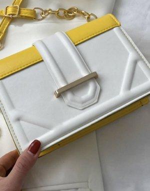 100% Fashion Gekruiste tas geel-wit