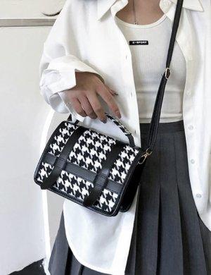 100% Fashion Sac à main noir-blanc