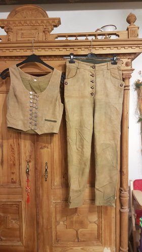 Pantalon traditionnel en cuir brun sable-brun