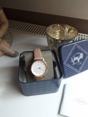 Fossil Horloge met lederen riempje veelkleurig