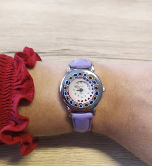 Watch With Leather Strap purple