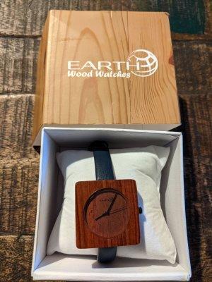 Reloj con pulsera de cuero marrón-azul oscuro