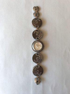Fossil Horloge met metalen riempje zilver-bruin