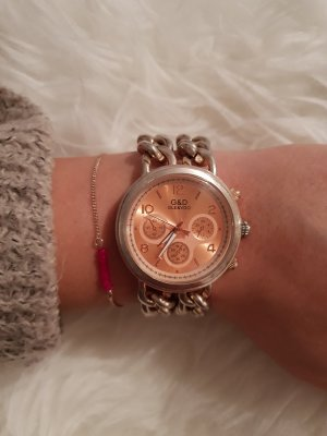 Watch With Metal Strap gold-colored-pink