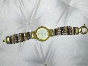 Damenuhr- Modeschmuck von Max - goldfarben mit Perlenkettchen-Armband