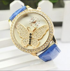 Watch With Leather Strap gold-colored-blue