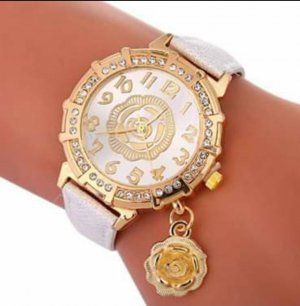 Watch With Leather Strap white-gold-colored
