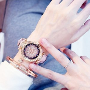 Watch With Leather Strap rose-gold-coloured