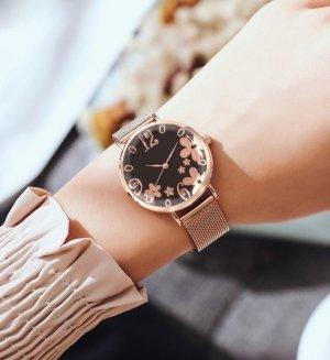 Horloge met metalen riempje zwart-roségoud