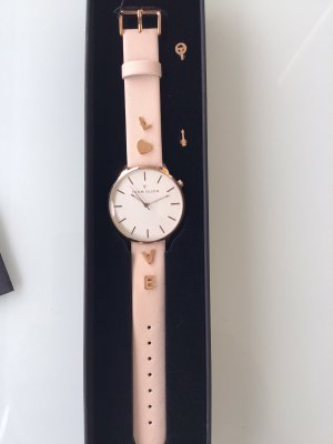 Watch With Leather Strap oatmeal-pink leather