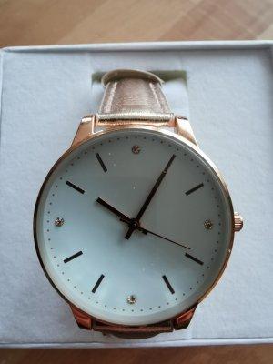 Horloge met lederen riempje roségoud