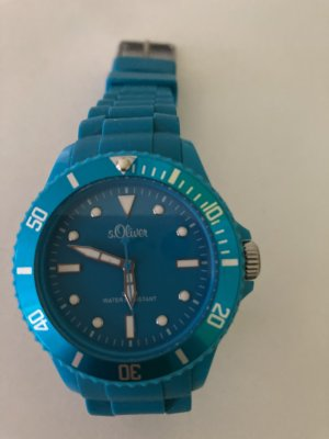 s.Oliver Watch With Leather Strap cadet blue