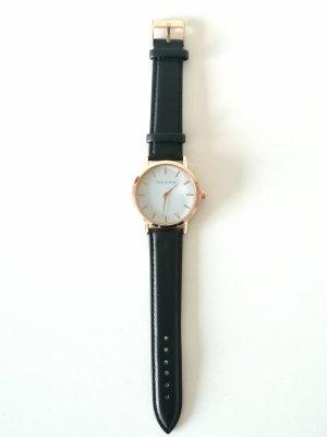 Horloge met lederen riempje zwart-goud