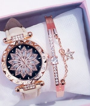 Watch With Leather Strap rose-gold-coloured-gold-colored