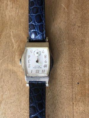 Horloge met lederen riempje zilver-blauw