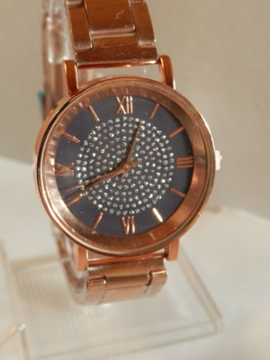 Silvity Watch With Metal Strap rose-gold-coloured-dark violet metal
