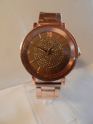 Silvity Montre analogue or rose-marron clair