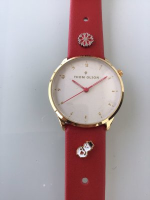 Watch With Leather Strap brick red-gold-colored