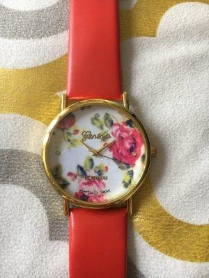 Damenuhr uhr rot mit Blumen