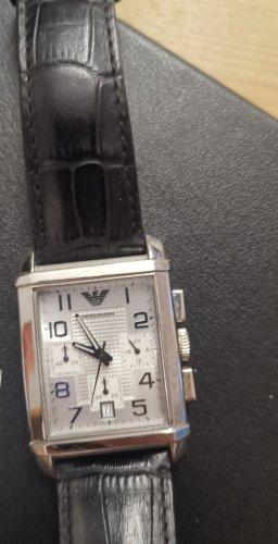 Armani Zegarek ze skórzanym paskiem czarny-srebrny