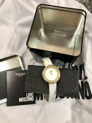 Love Moschino Reloj con pulsera de cuero blanco-color oro
