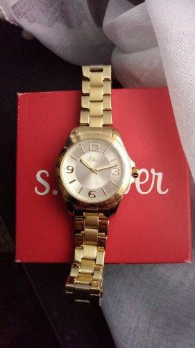s. Oliver (QS designed) Reloj con pulsera metálica marrón arena metal