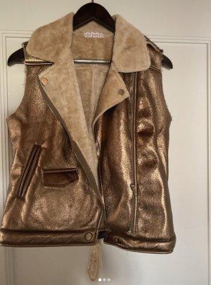 Lily White Fur vest bronze-colored
