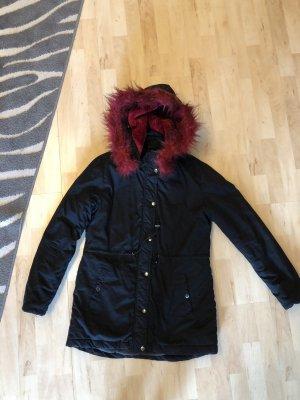 Page one Hooded Coat black-dark red