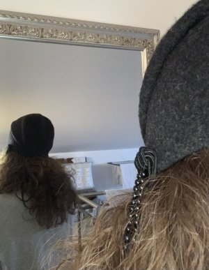 Cappello in feltro antracite-nero