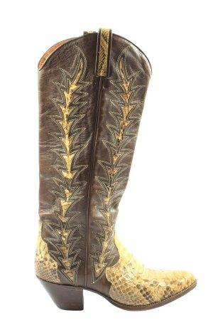 dan post Buty w stylu western brązowy-bladożółty Zwierzęcy wzór Elegancki