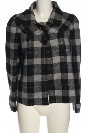 Dandara Heavy Pea Coat black-light grey check pattern casual look