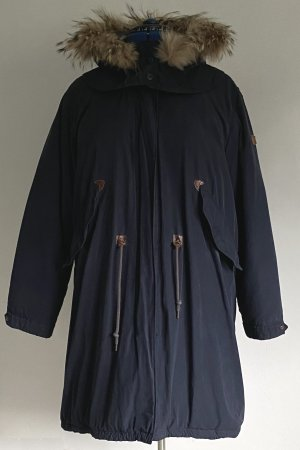 Aigle Manteau en duvet bleu foncé-beige coton