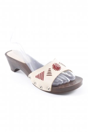 Daniel Hechter Clog Sandals oatmeal-dark brown Lather elements