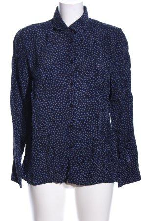 Daniel Hechter Hemd-Bluse blau-schwarz Allover-Druck Casual-Look