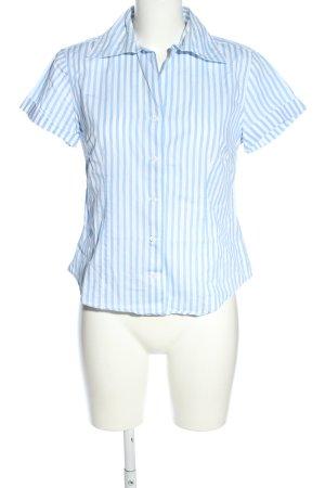 Daniel Hechter Jeans Kurzarm-Bluse blau-weiß Allover-Druck Business-Look