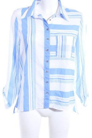 Daniel Hechter Langarm-Bluse weiß-kornblumenblau Streifenmuster Casual-Look