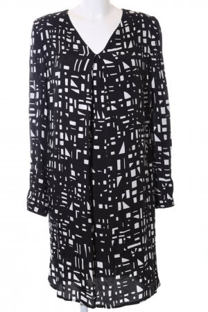 Daniel Hechter Langarmkleid schwarz-weiß abstraktes Muster Business-Look