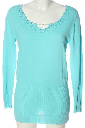 Daniel Valentin Fine Knit Jumper turquoise casual look