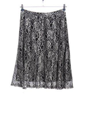 Daniel Valentin Midi Skirt black-silver-colored allover print casual look