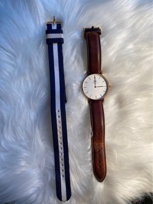 Daniel Wellington Watch With Leather Strap blue-brown